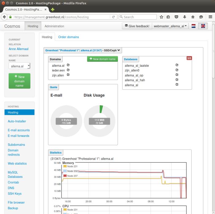 Greenhost net Hosting Overview closer