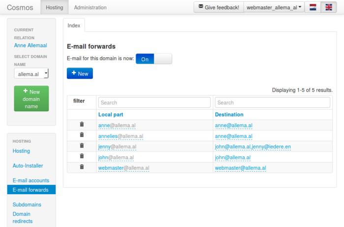 Emailwebmaster - E-mail forwards